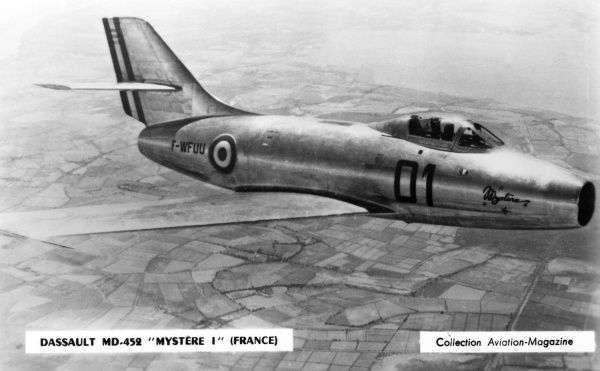One of several models of this advanced French jet fighter Date: circa 1950