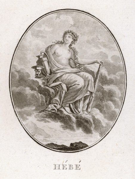 Daughter of Zeus and Hera, Hebe was the Greek goddess of youth ; she lived on Mount Olympus, and was cupbearer to the Gods when not caring for her mother's peacocks