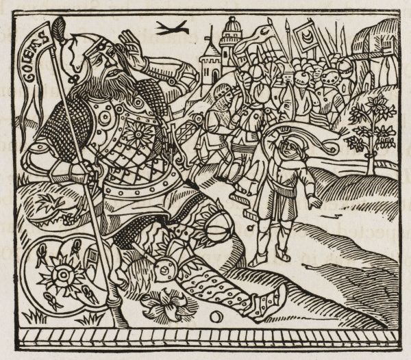 He downs Goliath with a pebble from a brook - illustration to Wynkyn de Worde's 1530 edition of 'The XII Profytes of Tribulacyon&#39