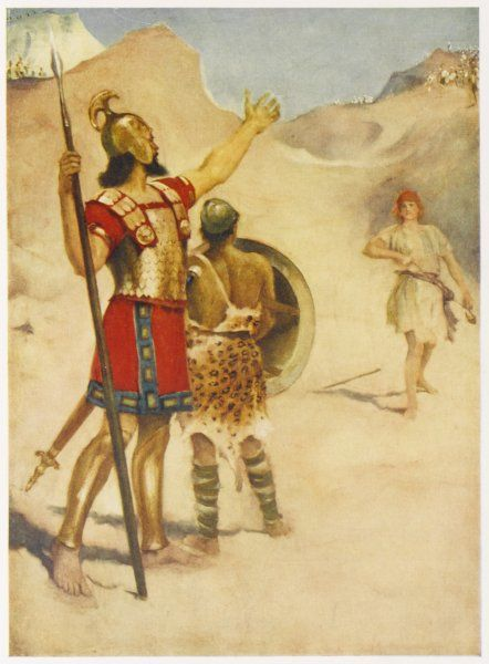 The war between Israel and the Philistines is halted for the time being when David, s shepherd, slays the Philistine champion Goliath with a stone from his sling