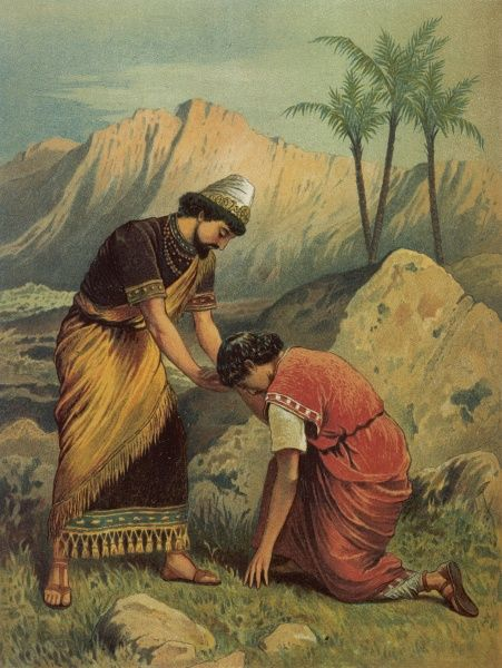 David bows and kneels before Jonathan as a mark of respect (I Samuel XX 41)