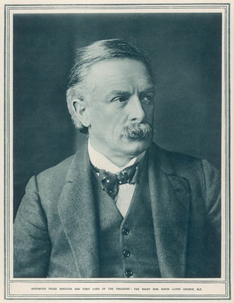 Photographic portrait of David Lloyd George (1863-1945), the Welsh Liberal statesman, pictured in 1916 when he was appointed Prime Minister and First Lord of the Treasury