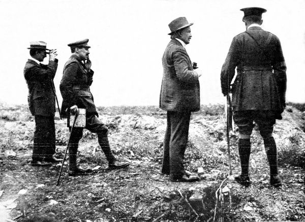 David Lloyd George (1863-1945), as Secretary for War, touring the British front in France, September 1916. He is pictured here (second from right) with Lord Reading (1860-1935), Liberal politician and Lord Chief Justice who accompanied him on his visit