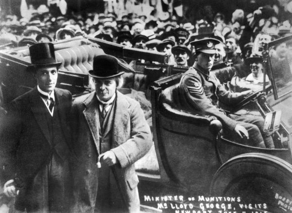 David Lloyd George, 1st Earl Lloyd-George of Dwyfor (1863-1945), British Liberal Prime Minister from 1916 to 1922. Seen here as Minister of Munitions, visiting Newport, Wales, during the First World War. There was a munitions shortage at the time