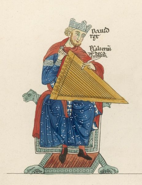 King David relaxes, strumming his psaltery