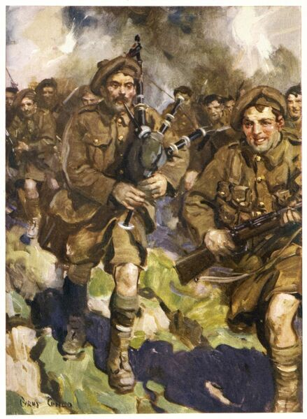 David Simpson, piper of the Black Watch, leads the charge at Loos during the First World War, but is killed almost at once