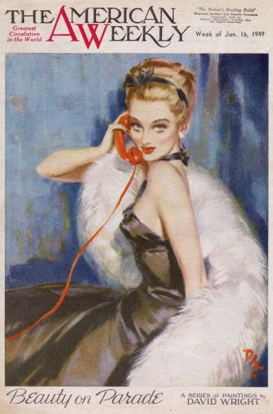 Elegant woman with blonde hair, wearing a slinky black evening dress and a white fur stole. She is speaking on her red telephone, no doubt making arrangements to go out. David Wright (1912 - 1967), was a popular British artist specialising in glamour