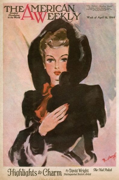 Elegant woman in a black hooded coat, with a red bow at her neck and red nail polish to match