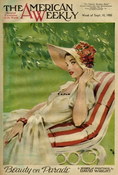 Elegant woman in a white dress and wide-brimmed hat, sitting on a reclining seat in a garden