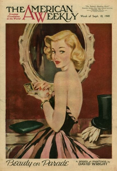 Elegant woman in a pink and black striped evening dress, with a mirror and powder puff in her hands