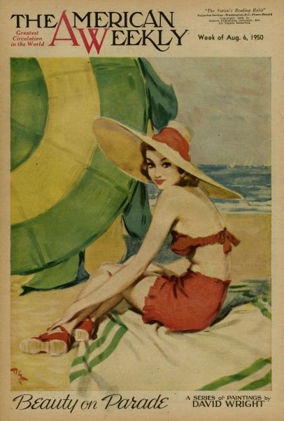 Elegant woman in a red bikini and wide-brimmed hat, sitting on the beach. David Wright (1912 - 1967), was a popular British artist specialising in glamour. His series of pin-ups for The Sketch during the World War II period were immensely popular
