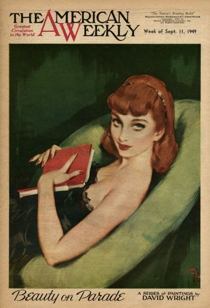 Elegant red-haired woman in a black negligee, holding a red book -- perhaps an address book of all her men friends