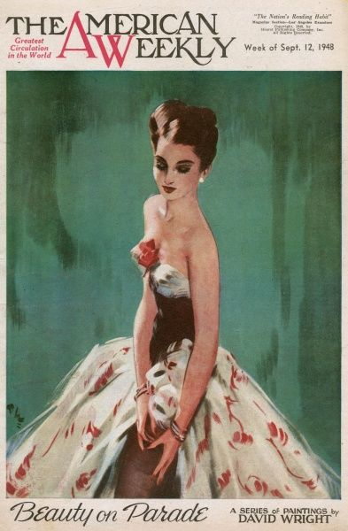 Elegant woman with dark brown hair, wearing a low-cut red and cream patterned evening dress with a red flower at the front. She is raising her skirt to adjust her stockings. David Wright (1912 - 1967), was a popular British artist specialising in glamour
