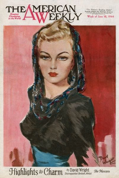 Elegant woman with blonde hair and dark mascara, wearing a silky patterned hood and a black bolero-style top
