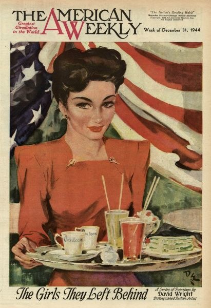 Elegant woman in a red dress with a tray of food and drink, and an American flag behind her, representing one of The Girls They Left Behind