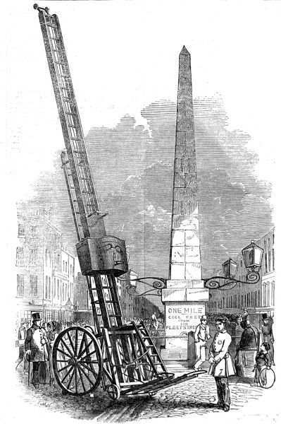 Engraving showing a portable fire escape, designed by Mr. Davies and used by the Royal Society for Protection of Life from Fire, stationed at the Obelisk, Blackfriars Road, London, 1849
