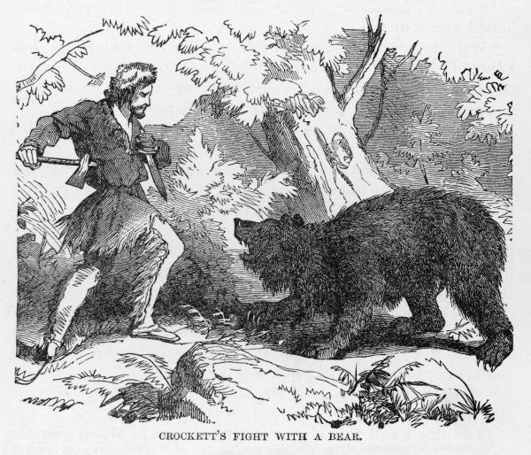 DAVY CROCKETT Armed with a knife and axe, Davy Crockett fights a bear. How the bear has annoyed him isn't clear, though a new jacket may be on the cards