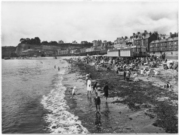The beach at Dawlish, Devon, at low tide : the tide has washed up an enormous quantity of seaweed which lies between the sand and the water
