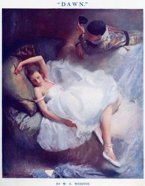 Columbine, dressed in ballet shoes and a white dress stretches out asleep while Harlequin takes off his mask to look at her as she slumbers after their revelry