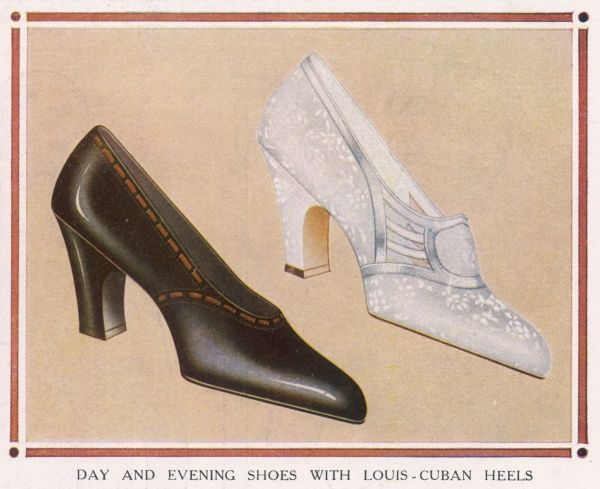 Day and evening shoes; on left a day shoe in kid, beige and patent black leather. On right; a silver brocade evening shoe with a Louis Cuban heel