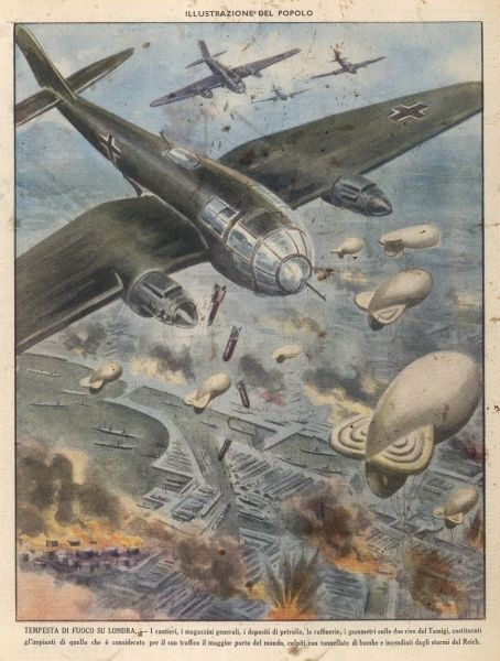 Heinkel III bombers take part in daylight raids on London, bombing the docks though barrage balloons prevented low-altitude attacks