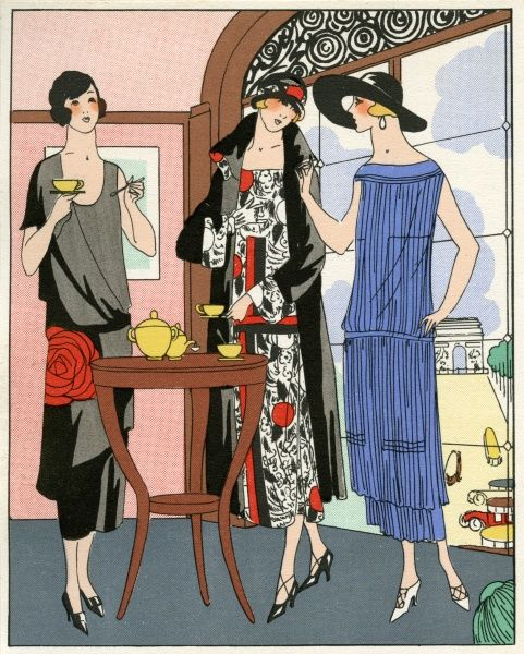 Three women in the latest day wear. On the left, a black scoop neck dress with large red rose to the side, by Drecoll