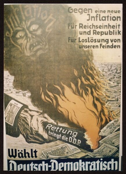 German Democratic Party (DDP) poster demonising inflation