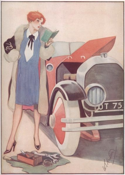 Illustration showing a fashionable lady trying to work out what is wrong with her car