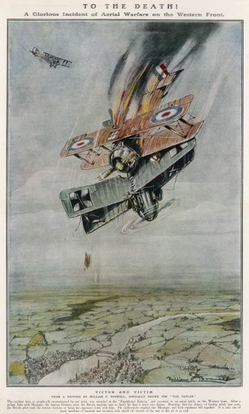 To the Death! - A Glorious Incident of Aerial Warfare on the Western Front, showing a British biplane crashing into a German plane in a dogfight during the First World War