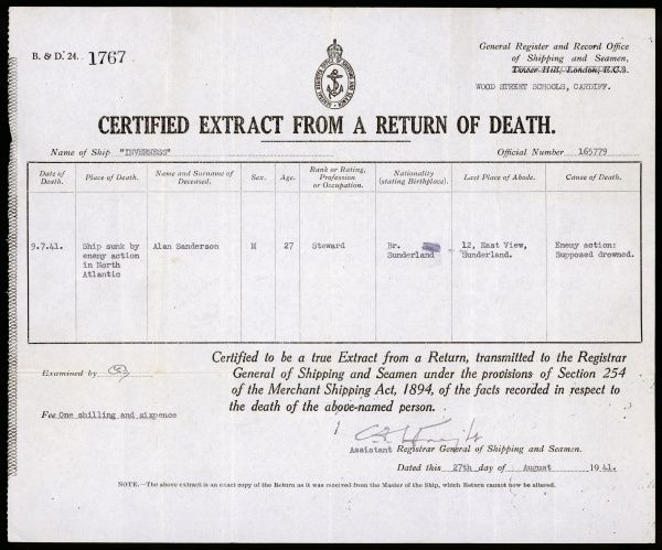 Death certificate issued when Alan Sanderson's ship Inverness is sunk by the enemy in the North Atlantic in World War Two. He is missing, 'supposed drowned&#39