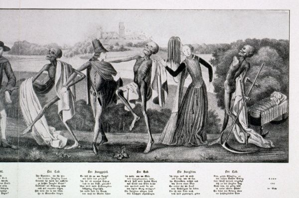 Death, the bachelor and the virgin, German copperplate 1701, illustrating Dance Macabre. Date: 1701