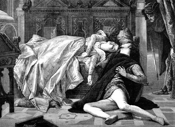 Engraving of the painting by Alexandre Cabanel (1870), of the Death of Francesca de Rimini and Paolo Malatesta