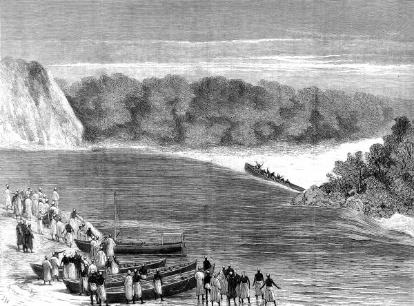 Engraving showing the death of Kalulu, at the Kalulu Falls, during Sir Henry Morton Stanley's Anglo-American expedition of 1874-1877