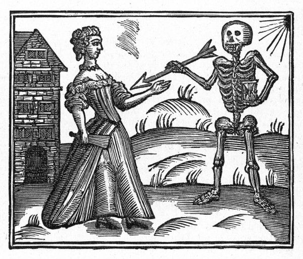 A housewife encounters a grinning skeleton, and shrinks from his arrow, clutching her fan