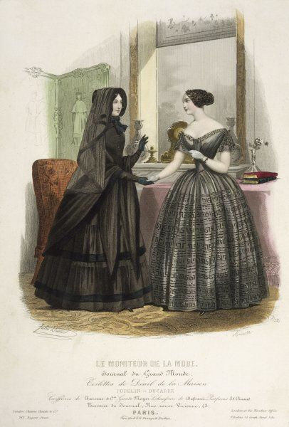 A lady in outdoor mourning dress visits a friend whose mourning dress is not untouched by discreet decoration