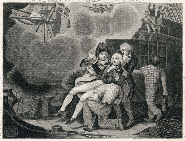 The fatal wounding of Admiral Nelson : a popular representation of the time