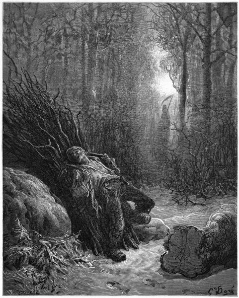 DEATH AND THE WOODCUTTER A wretched woodman, worn down by life's woes and the weight of his load of sticks, calls on Death to relieve him of his suffering