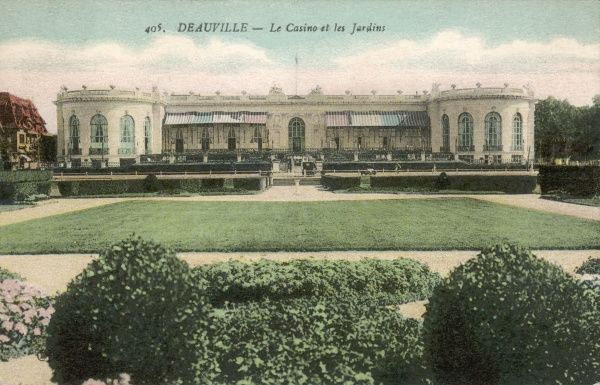 A view of the casino and gardens at Deauville, France