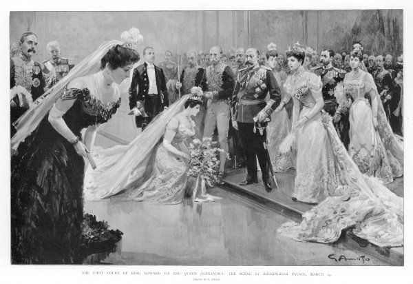 A debutante curtseys before her sovereign and his consort, the first court of Edward VII and Alexandra, held at Buckingham Palace, London