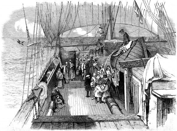 Engraving showing a typical scene on the deck of an Australian Emigrant ship, outward bound from Europe to Australia, in the mid 19th century