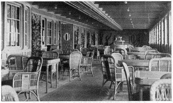 This photograph shows the Deck Cafe on the Titanic. The ship surpassed all rvials in size and luxury