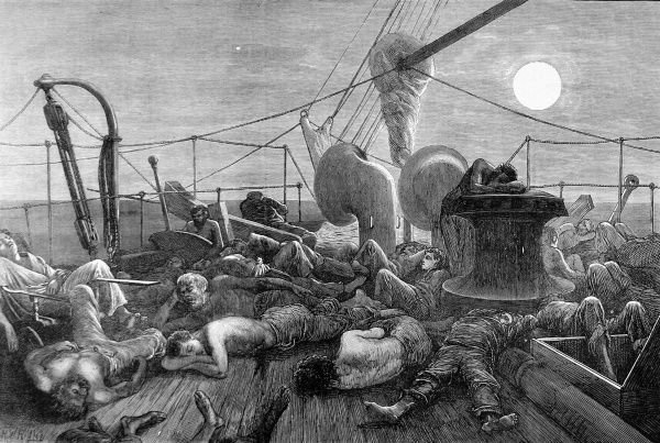 Engraving showing the forecastle of a mail steamer at night, in the Red Sea, 1872. The oppressive heat of the area has driven some of the crew and passengers to sleep on the front deck of the ship, where they might be cooled by a breeze