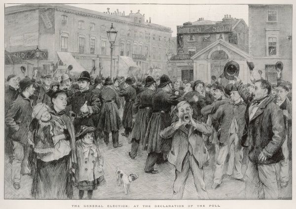 Illustration depicting a lively crowd scene in an unidentified town or city during the declaration of the poll in the 1892 General Election (won by the Liberal party bringing Gladstone to office for his fourth terms as Prime Minister)