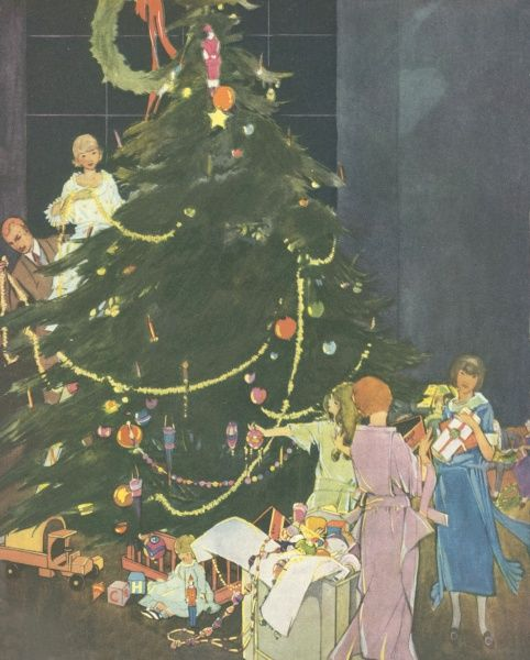 A festive scene showing a family decorating a huge Christmas tree with streamers and baubles