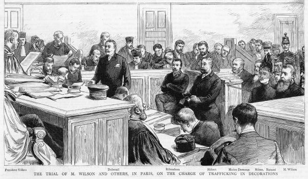 "The 'decoration scandals' (the usual ""honours for cash"" naughtiness) - drag on from last year : scene during the trial of Wilson at Paris"