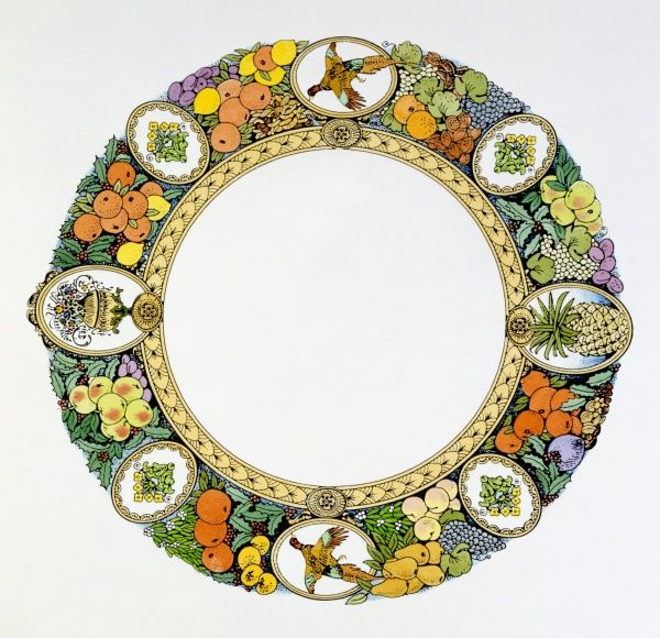 A circular decorative border, comprising of various colourful foodstuffs from fruit and vegetables to game birds