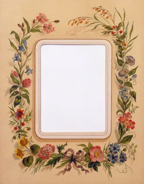 A decorative Floral rectangular border. Painting by Malcolm Greensmith