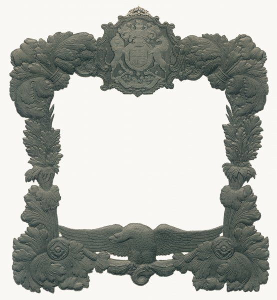 A heavily ornate frame that incorporates the British Royal Coat-of-Arms, Prince of Wales feathers, Tudor roses and an eagle with outstretched wings