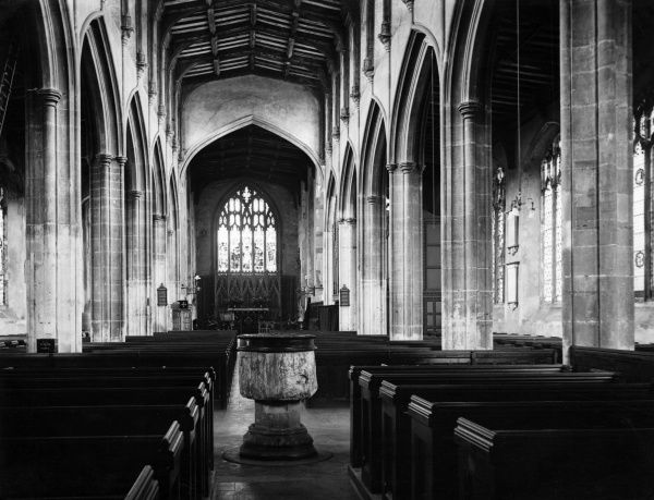 An view of the fine interior of Dedham Church, Essex, England. Date: 15th century