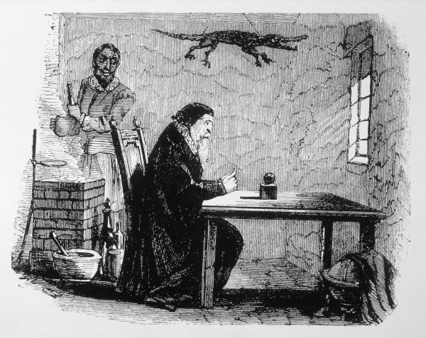 DR JOHN DEE and his assistant EDWARD KELLEY (with whom he exchanged wives from time to time) working magic